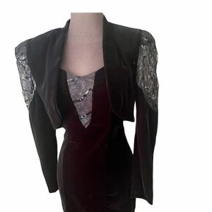 Vtg 80s Zum Zum Velvet Dress and Jacket Set